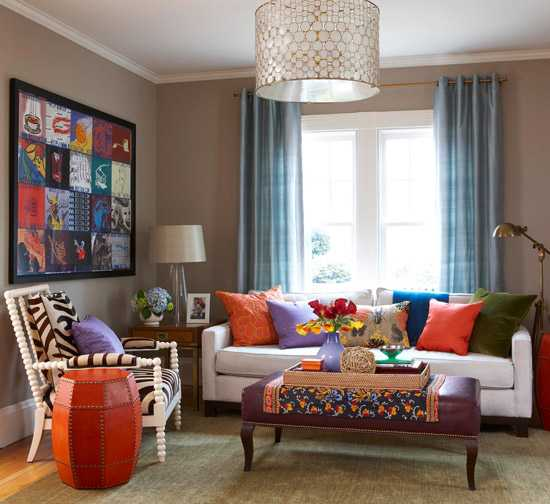 Glitzy Light Fixture Provide A Youthful Oomph While The Colors In Collage Of Record Covers Are Repeated Throw Pillows And Centerpiece Items