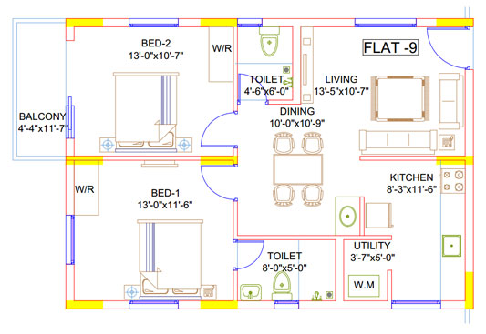 Jains Carlton Creek   2 BHK  Floor Plan